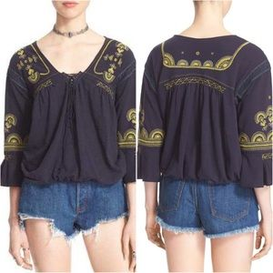 Free People Chiquita peasant top small navy
